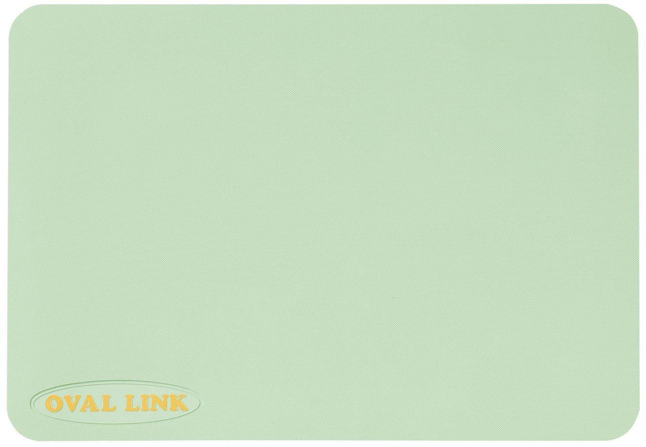 【オーバルリンク】Mサイズ(38cmx55cm)ライトグリーン お風呂の滑り止めマット 1枚 抗菌防カビ加工