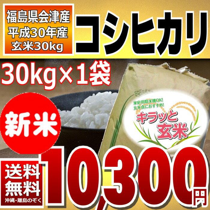 【新米】 コシヒカリ 調整済玄米キラッと玄米 30kg (会津産) 30年産 調製済玄米 送料無料 通常発送 【10月限定特価】