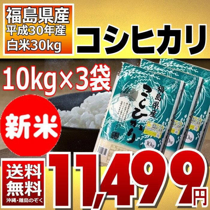 コシヒカリ 10kg×3袋 精白米 30kg 福島県 30年産 送料無料