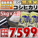 BG無洗米 コシヒカリ 5kg×4袋 精白米 20kg 福島県 28年産 送料無料