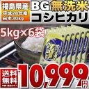 【BG無洗米】【30kgセット】 28年福島県産 白米 コシヒカリ 30kg(5kg×6)【送料無料】