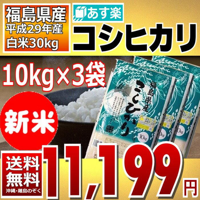 (新米)コシヒカリ 10kg×3袋 精白米 30kg 福島県 29年産 送料無料