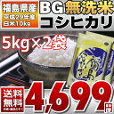 BG無洗米 コシヒカリ 5kg×2袋 精白米 10kg 福島県 29年産 送料無料