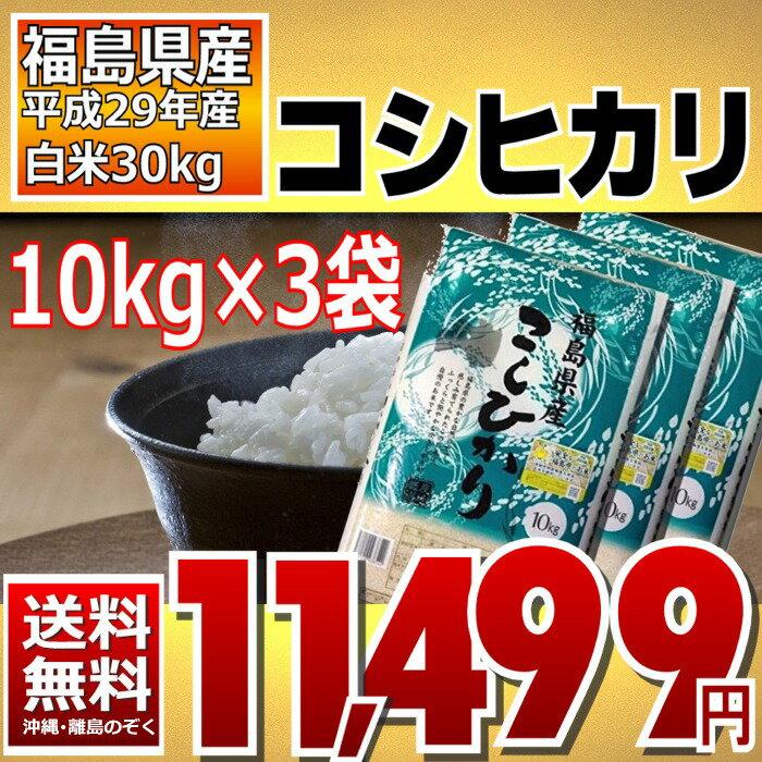 コシヒカリ 10kg×3袋 精白米 30kg 福島県 29年産 送料無料
