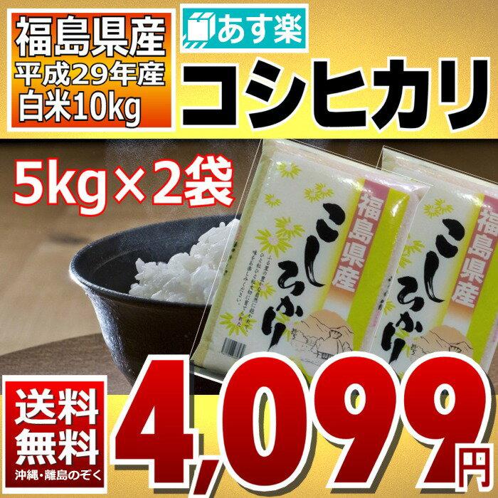 コシヒカリ 5kg×2袋 白米 10kg 福島県 29年産 送料無料 あす楽_土曜営業(4月末まで限定特価)