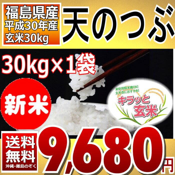 天のつぶ キラッと玄米 30kg 福島県 30年産 調製済玄米 送料無料 通常発送