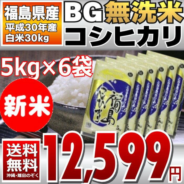 BG無洗米 コシヒカリ 5kg×6袋 精白米 30kg 福島県 30年産 送料無料