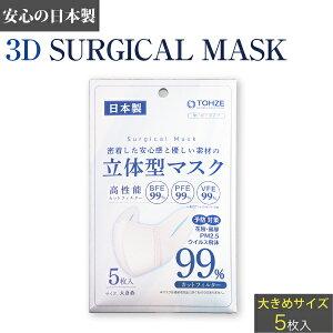 立体型マスク サージカルマスク 日本製 大きめ 5枚入り 不織布マスク 白 ホワイト 立体型 マスク 大きめサイズ 大人用 使い捨てマスク 使い捨て 花粉症 ほこり PM2.5 ウイルス 立体 在庫あり
