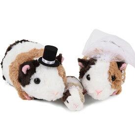 【仲良しファミリーシリーズ】【テンジクネズミペア+子ども(全3体)】ネズミのウェルカムドール(ベビー付き)  結婚式 ぬいぐるみ ウェディング ウェルカムドール ファミリー 家族 子ども付き ねずみ ネズミ モルモット ベビー ギフト 受付