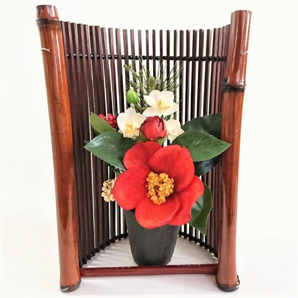 【送料無料】お正月アレンジ和風 造花 和風アレンジ シルクフラワーアレンジ 椿の花と蘭の白 木枠フレーム付き【数量限定】