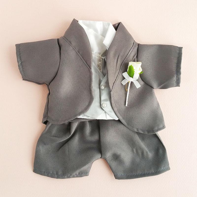 ぬいぐるみ用タキシードセット グレー 人形用タキシード(ウェルカムドール 手作り 衣装)