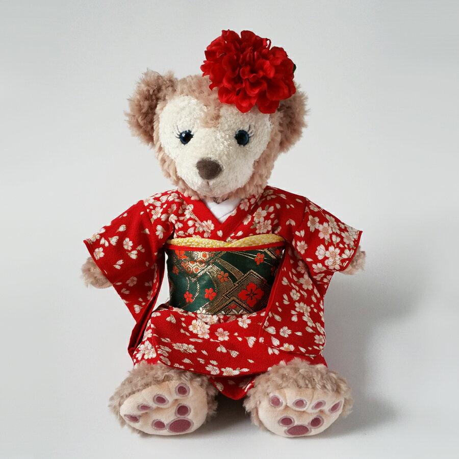 ダッフィー・シェリーメイ用衣装 手作りウェルカムドール用着物セット ぬいぐるみ用着物 振袖(赤)