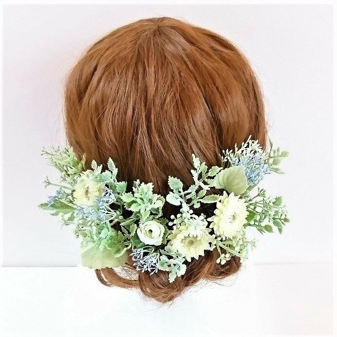 ヘアパーツ ナチュラル ホワイトグリーン系ヘアード シルクフラワー プリザーブドフラワー 造花 ウェディング髪飾り ヘアアクセサリー