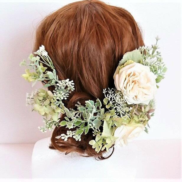 ヘアパーツ バラ2輪付きホワイトグリーン系ヘアード シルクフラワー プリザーブドフラワー 造花 ウェディング髪飾り ヘアアクセサリー
