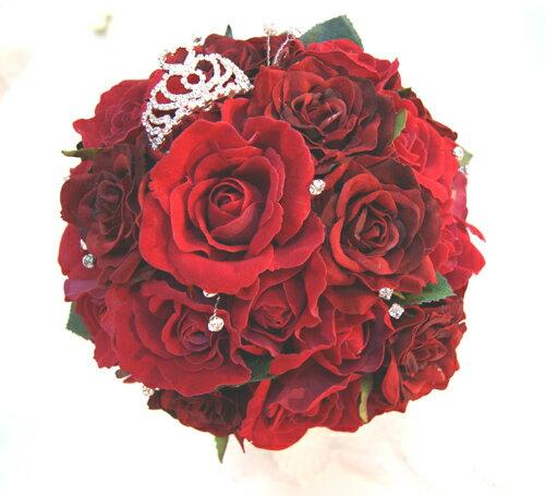 ブライダルブーケ ウェディングブーケ 造花シルクフラワー 美女と野獣イメージ プリンセスブーケ 造花ラウンドブーケ 結婚式ブーケ赤