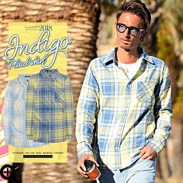 チェックシャツ腰巻メンズネルシャツ長袖春ビター系サーフ系アメカジ春服