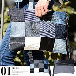 クラッチバッグメンズデニムパッチワーク鞄男女兼用ykkジップサーフ系ストリート系2018新作