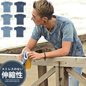 Tシャツ メンズ インディゴ クルーネック ヘンリーネック Tシャツ デニム 半袖 サーフ系 アメカジ ビター系