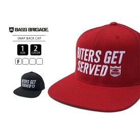 【送料無料】バスブリゲード キャップ BASS BRIGADE キャップ 帽子 スナップバック ストレート ロゴ 刺繍 ベースボールキャップ BITERS GET SERVED SNAPBACK HAT BGH01