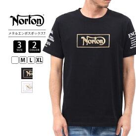 【送料無料】NORTON ノートン Tシャツ 半袖 メンズ トップス メタル エンボス ボックス T バイカー バイク乗り 刺繍 202N1013