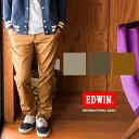 【EDWIN エドウィン】INTERNATIONAL BASIC ノータックタイトフィットチノパンツ K402-057S /チノパン/トラウザー/ジャケパン/ベージュ/綿パン/ストレッチ/メンズ/