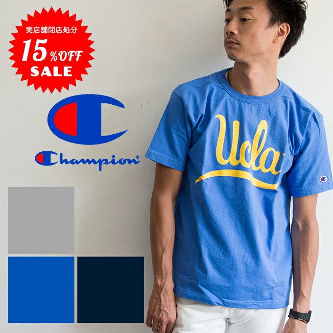 【Champion チャンピオン】T1011 UCLA カレッジプリントS/S Tシャツ C5-K303 /半袖/ヘビーウェイト/厚め/クルーネック/丸首/丸胴/メンズ/ユニセックス/染込みプリント/ラバープリント/テンイレブン/