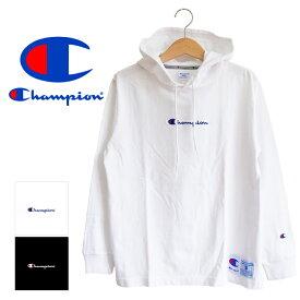 【 Champion チャンピオン 】ロゴ L/S フード Tシャツ C3-M414 / 長袖 パーカー フーディー ロンt カットソー ロゴ刺繍 重ね着 メンズ レディース ユニセックス /
