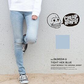 【CHEAP MONDAY チープマンデー】Tight Hex Blue ストーンウォッシュ タイトデニムパンツ 0634554-U / メンズ レディース ユニセックス デニム ジーンズ タイト スキニー ダメージ SKINNY TIGHT ボトムス パンツ チープマンデイ 淡色 ライトブルー