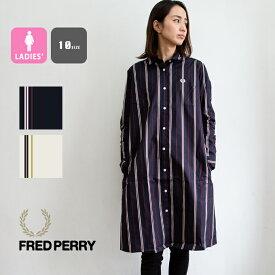 【 FRED PERRY フレッドペリー 】 STRIPED SHIRT DRESS ストライプ シャツ ワンピース F8548 / フレッドペリー シャツ シャツワンピース ストライプ シャツワンピ シャツ 柄 ストライプ柄 レディース 長袖 ひざ丈 ロゴ 刺繍 20SS