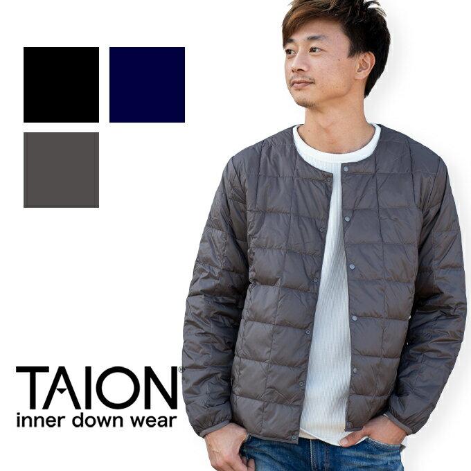 【TAION タイオン】CREW NECK BUTTON INNER DOWN JACKET クルーネックボタン インナーダウンジャケット TAION-104 (MEN'S)/トップス/長袖/インナー/アウター/ジャケット/ダウン/防寒/撥水/ボタン/カジュアル/暖か/コンパクト/カーディガン