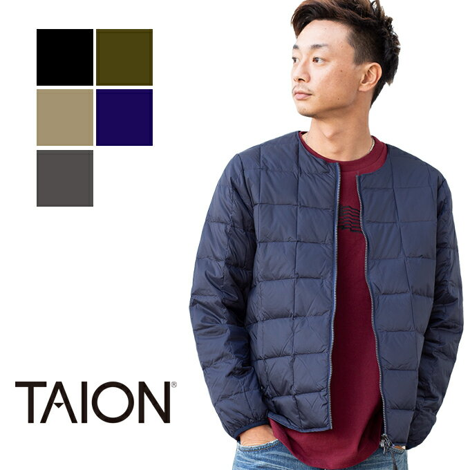【TAION タイオン】CREW NECK INNER DOWN JACKET クルーネック インナーダウンジャケット TAION-105 /トップス/長袖/インナー/アウター/ジャケット/ダウン/防寒/撥水/Wジップ/ジッパー/カジュアル/暖か/コンパクト/メンズ/レディース/ユニセックス