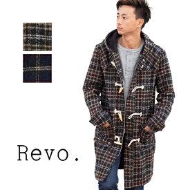 【Reno. レヴォ】Wool Check Long Duffle Coat チェック柄 ロング ダッフルコート TH-2570 /トップス/長袖/アウター/コート/チェック/ウール/フード/秋冬/起毛/防寒/暖か/カジュアル/シンプル/ロング丈/長め/メンズ
