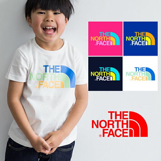 【THE NORTH FACE ザノースフェイス】キッズ S/SカラフルロゴTシャツ NTJ31823 /半袖/プリントT/ロゴT/丸首/クルーネック/ボーイズ/ガールズ/