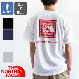【 THE NORTH FACE ザ ノースフェイス 】S/S Bandana Square Logo Tee ショートスリーブ バンダナ スクエアロゴ Tシャツ NT32108 / north face Tシャツ ノース フェイス トップス メンズ バックプリント tee ロゴ バンダナ柄 スクエアロゴ 21SS