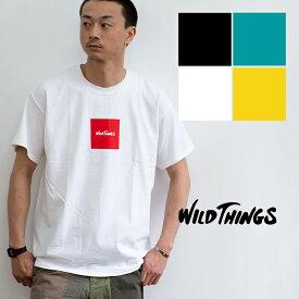 【SALE!!】【WILDTHINGS ワイルドシングス】SQUARE WILD THINGS スクエアロゴS/S Tシャツ WT19031H /半袖/ボックスロゴ/ブランドロゴ/プリントT/ロゴT/丸首/クルーネック/トップス/カットソー/アウトドア/メンズ/レディース/ユニセックス/