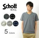 Schott(ショット) 裾 ワンポイント Vネック ポケット 半袖 Tシャツ メンズ ポケT パックT Tシャツ カットソー 切り…