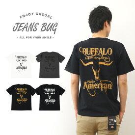 『BUFFALO』 JEANSBUG ORIGINAL PRINT T-SHIRT オリジナルバッファロー アメカジプリント 半袖Tシャツ インディアン ネイティブアメリカン 角 バイク メンズ レディース 大きいサイズ ビッグサイズ対応 【ST-BUFFALO】