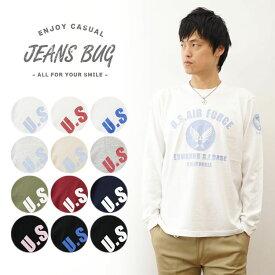 (ロンT)『U.S. AIR FORCE CA』 JEANSBUG ORIGINAL PRINT Long Sleeves Tシャツ オリジナルユーエスエアフォース ミリタリープリント 長袖Tシャツ アメリカ空軍 米軍 USAF エアフォース メンズ レディース 大きいサイズ ビッグサイズ対応 【LT-CA】