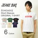 『CHICAGO』 JEANSBUG ORIGINAL PRINT T-SHIRT オリジナル シカゴ アメカジ プリント 半袖 Tシャツ ボックス ロゴ シンプル 英字 メンズ レディース 大きいサ