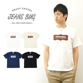 『Philadelphia』 JEANSBUG ORIGINAL PRINT T-SHIRT オリジナルフィラデルフィア アメカジプリント 半袖Tシャツ シンプル 英字 ボックスロゴ メンズ レディース 大きいサイズ ビッグサイズ対応 【ST-PHILA】