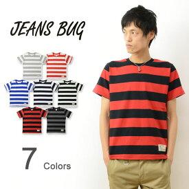 (ボーダー半袖Tシャツ)JEANSBUG ORIGINAL Tag & Embroidery 半袖 ボーダー Tシャツ オリジナルタグ&刺繍 5oz 薄手 太い 横縞 メンズ レディース 白 ネイビー 黒 赤 青 グレー ボールド しましま ストライプ 【BDST-TGEM】