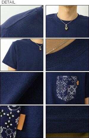 (バンダナポケT)オリジナル本革タブアクセント半袖バンダナポケットTシャツヤギ革タグクルーネック厚手無地Tシャツアメカジカットソーペイズリー柄メンズレディース大きいサイズビッグサイズ対応【PKST-BANDA】
