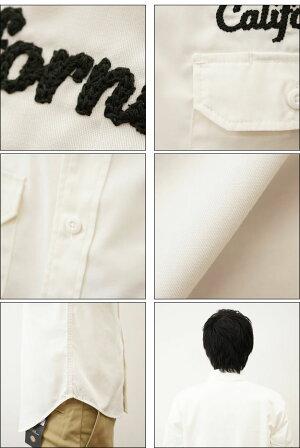 (長袖ワークシャツ)オリジナルCaliforniaチェーンステッチ刺繍長袖ワークシャツメンズレディース大きいサイズ無地アメカジ両胸ポケットペン差しベージュカーキネイビー白黒キングサイズXXL3LXXXL4L4XL5L5XL6Lまで展開【LWKSH-CALI】