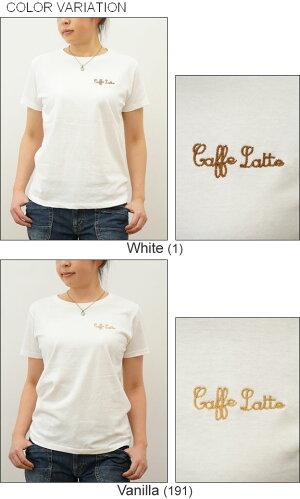 (レディース)『CaffeLatte』オリジナル刺繍半袖Tシャツクルーネック厚手無地カットソー透けないシンプル綿コットンTシャツ白黒ベージュ【LST-CAFFE】