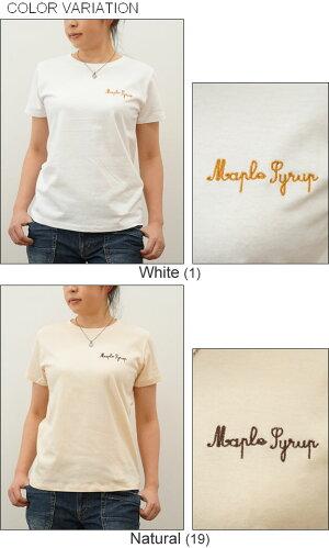 (レディース)『MapleSyrup』オリジナル刺繍半袖Tシャツメイプルシロップクルーネック厚手無地カットソー透けないシンプルワンポイントロゴ綿コットンTシャツ白黒ベージュJEANSBUGORIGINAL【LST-MAPLE】