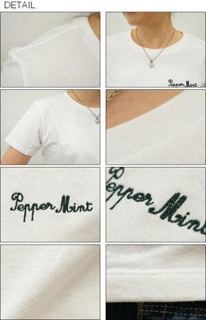 (レディース)『PepperMint』オリジナル刺繍半袖Tシャツペパーミントクルーネック厚手無地カットソー透けないシンプルワンポイントロゴ綿コットンTシャツハーブ白黒JEANSBUGORIGINAL【LST-MINT】