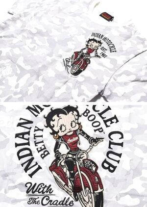 INDIANMOTOCYCLEインディアンモトサイクル×BETTYBOOPベティブープコラボTシャツバイカーベティー刺繍プリント迷彩半袖TシャツBBI-910-WHITECAMO【2019春夏新作】