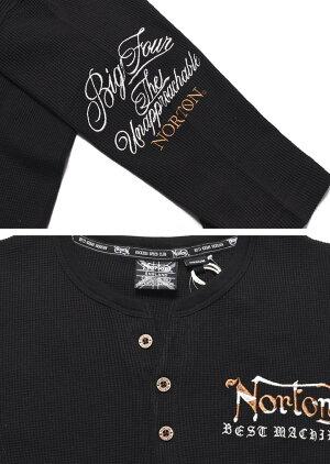 ノートンNORTONTシャツイーグル&NORTONロゴ総刺繍サーマルYネックヘンリー6分袖Tシャツ211N1104【2021春夏新作】