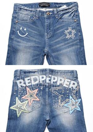 REDPEPPERレッドペッパージーンズラインストーン&スター刺繍レディーススキニーデニムRJ1071【2019春新作】