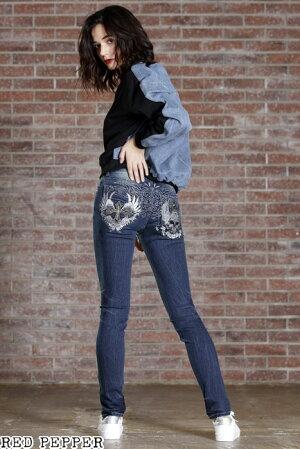 レッドペッパーREDPEPPERジーンズスカル&クロスダブルウィング刺繍レディーススキニーデニムRJ1108【2021春夏新作】